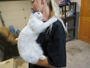 Lacy gives a hug.